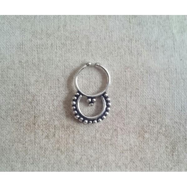 HANDMADE silver nose septum Piercing FAKE