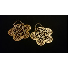 flower of life earrings brass