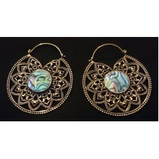 big mandala earrings paua shell