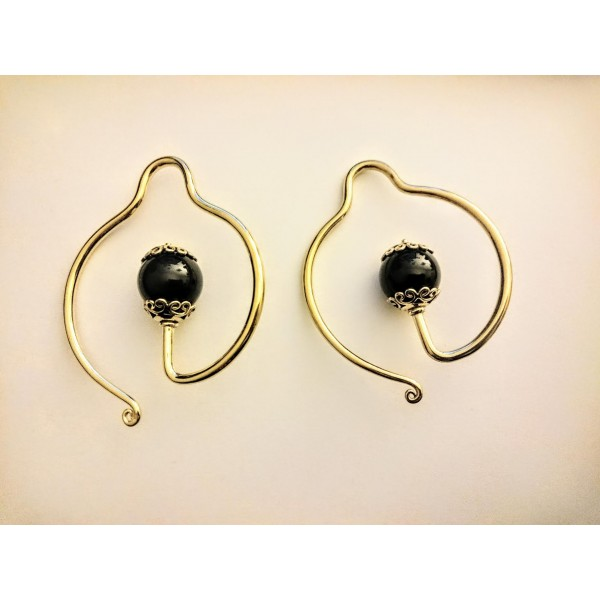brass onyx hoop spiral ear weights